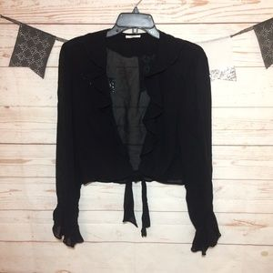 Cache Sheer Tied Front Blouse Size S